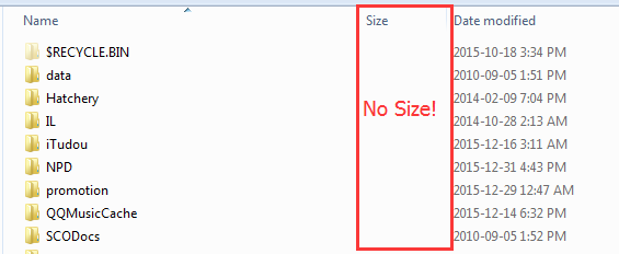 Show Size of Folders No Size